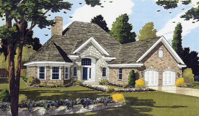 HPP 24154 house plan COLOR RENDERING FRONT ELEVATION-1
