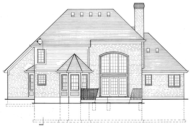 HPP 24154 house plan  REAR ELEVATION-1