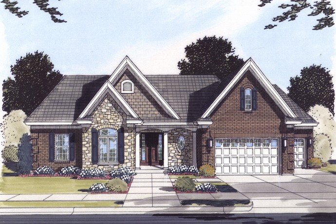HPP 24178 house Plan COLOR RENDERING FRONT ELEVATION-1