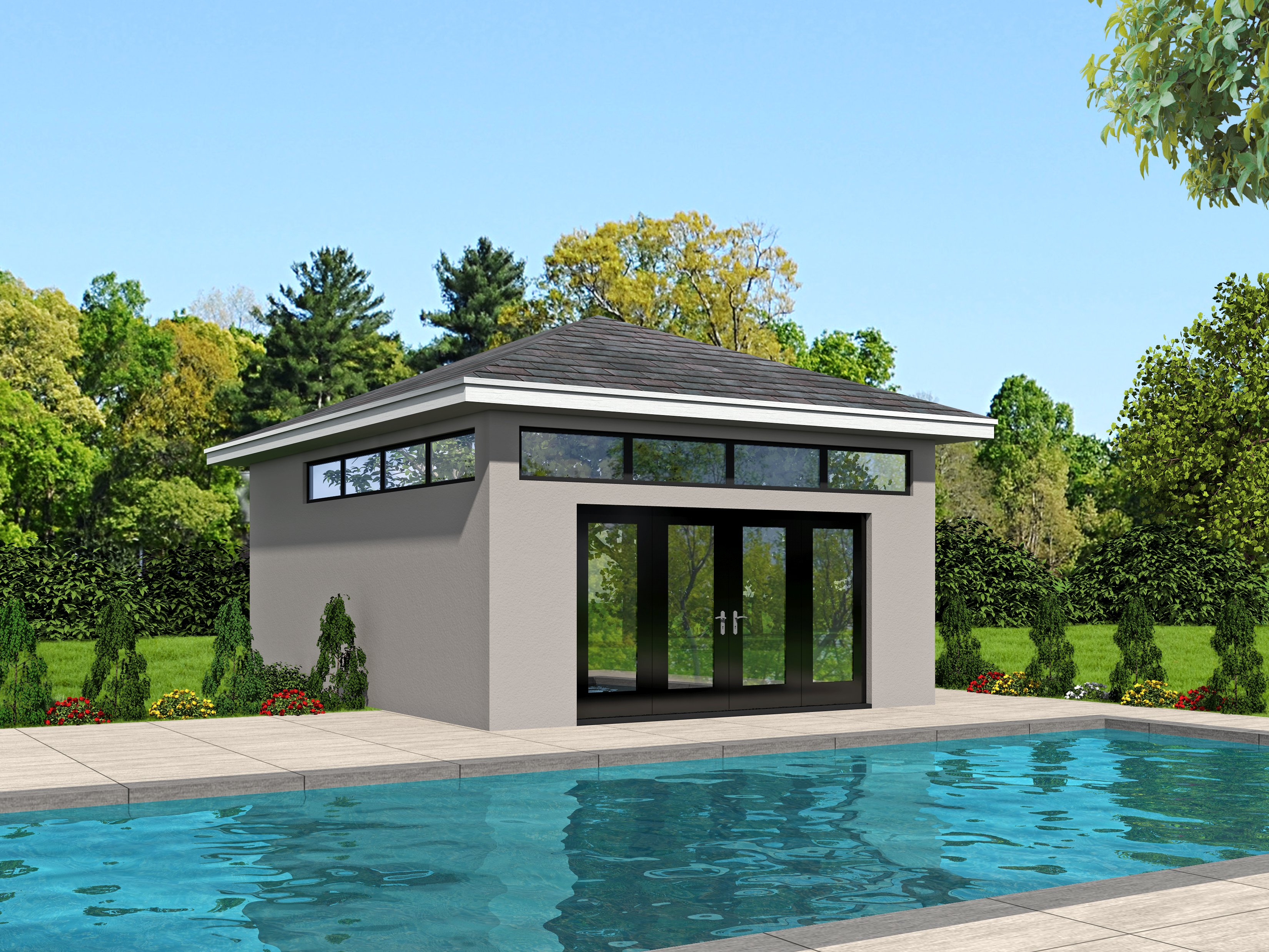 Pool house plans house plans plus for Pool house plans with garage