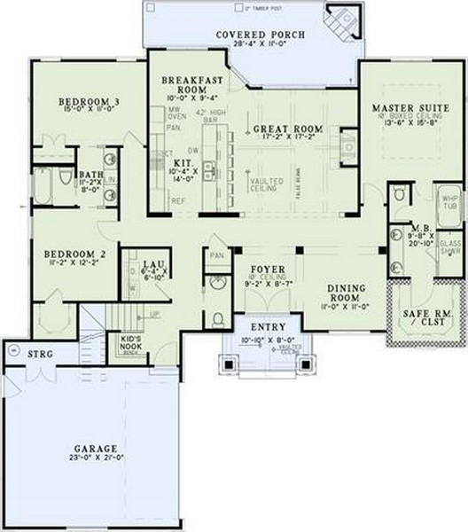 HPP 2329 house plan -Courtyard-Main-Color
